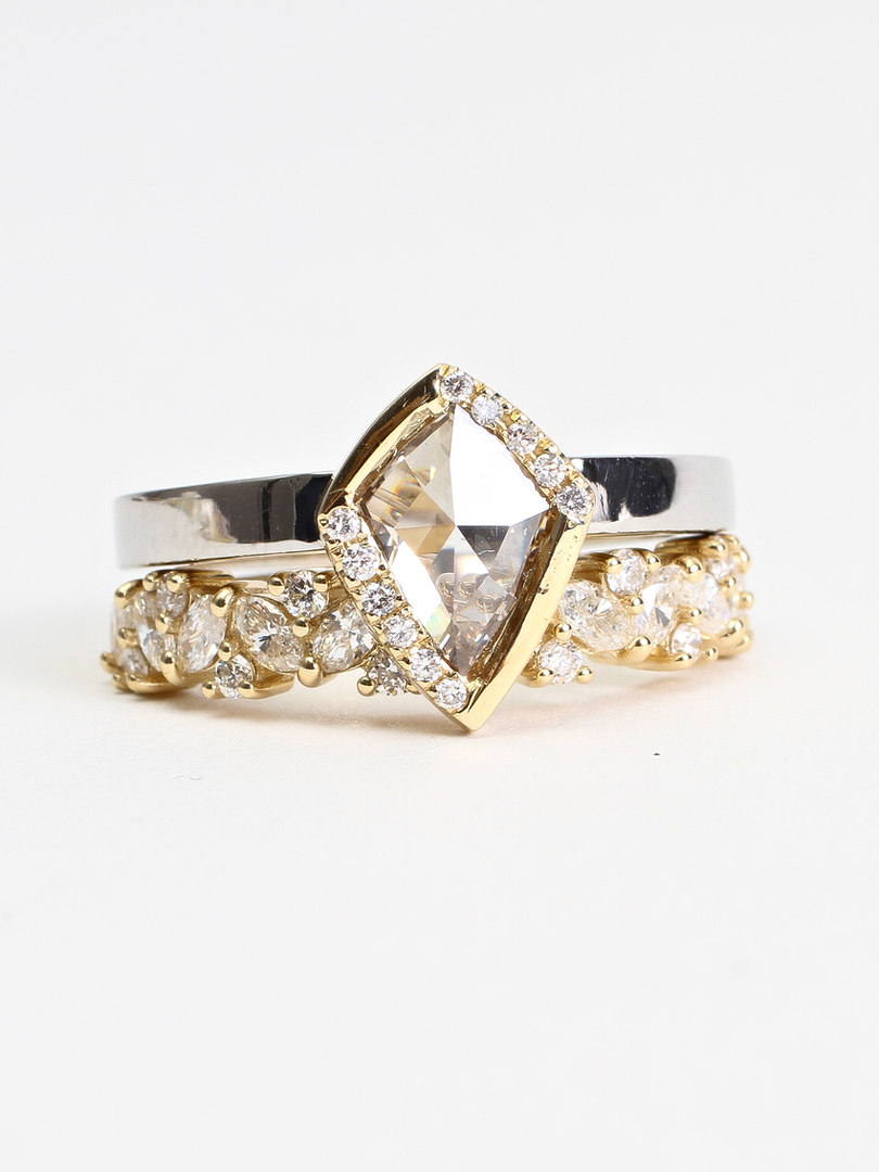 Champagne Diamond Engagment Ring Set
