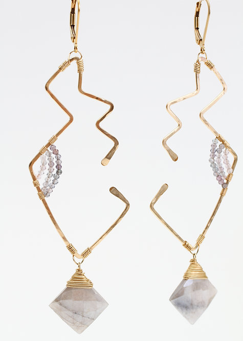 Geometric Moonstone and Spinel Earrings