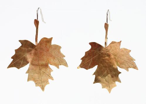 Hand Sawn Brass Maple Leaf Earrings