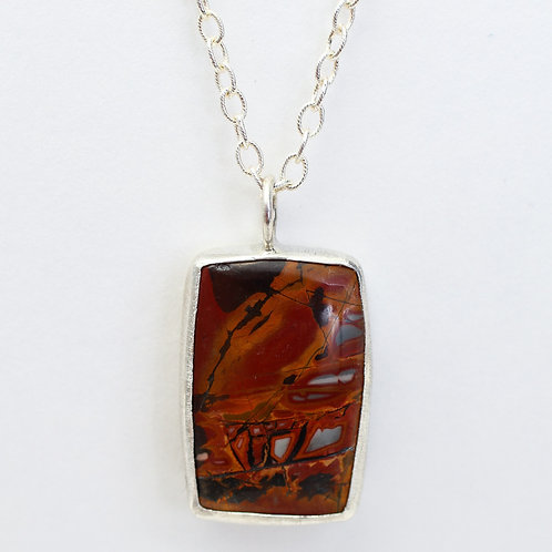Red Creek Jasper  with Oak Leaf Cut-out Pendant Necklace