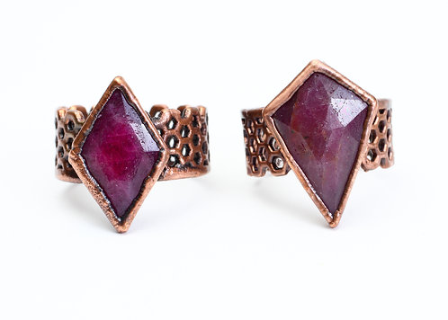Copper Electroformed Ruby Ring