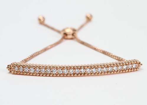 14K Rose Gold Diamond Bar Braclet