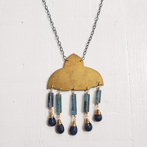 Vintage 1920's Brass Pendant with Kyanite and Sapphire Necklace
