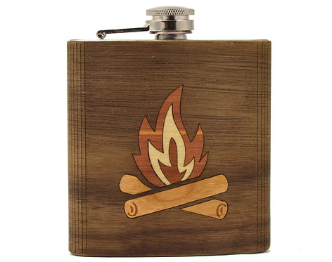 Fire Wooden Hip Flask