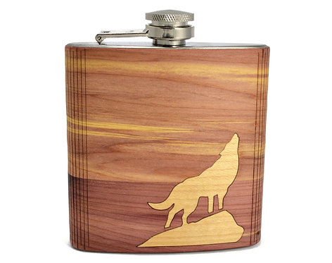 Howling Wolf Wooden Hip Flask