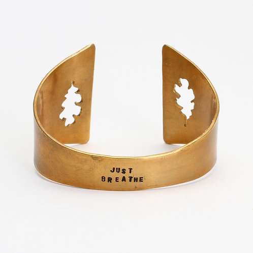 Brass Hand Sawn Oak Leaf Cuff