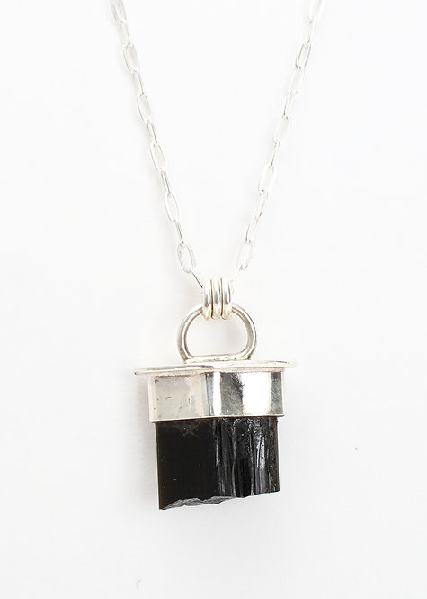 Capped Raw Tourmaline Necklace
