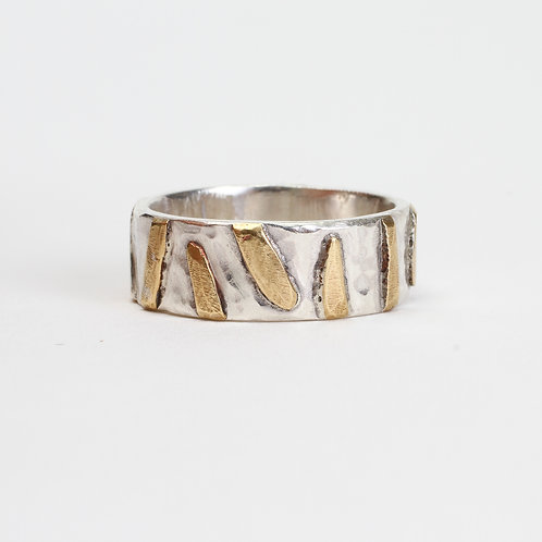Silver & Brass Geometric Ring