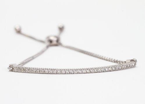 14K White Gold Pave Diamond Bar Bracelet
