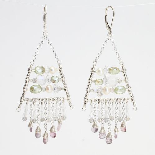 Earrings w/ Pearl, Kyanite, Moonstone, Herk Diamonds, Labradorite