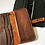 Thumbnail: Black Leather Check Wallet with Zipper Pouch - Black