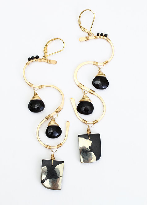 Black Spinel and Apache Gold Earrings