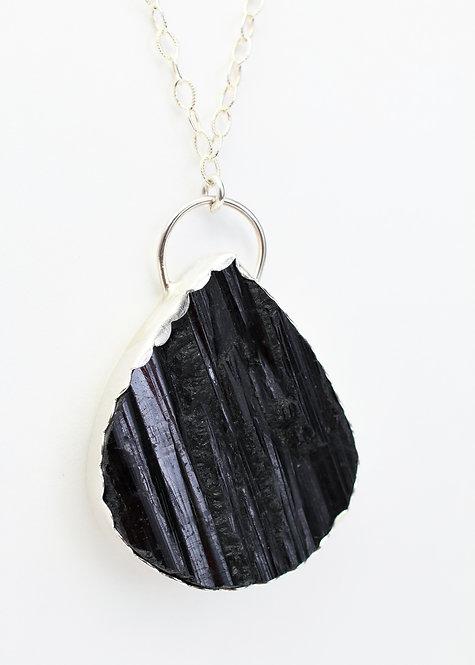 Raw Black Tourmaline Pendant Necklace
