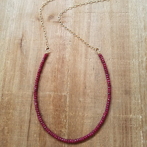 Hand Strung Ruby Long Statement Necklace