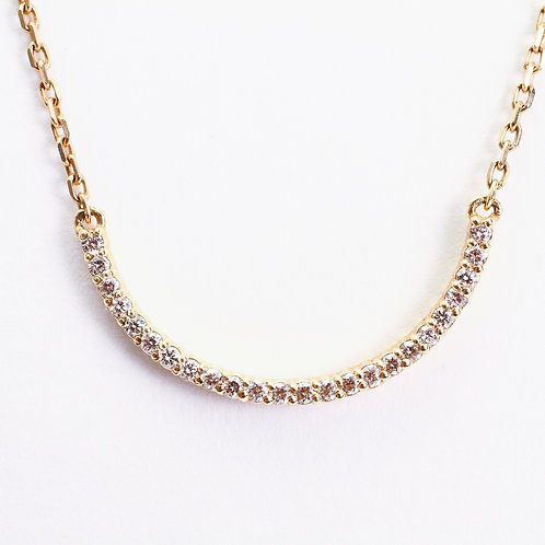 14K Yellow Diamond Half Moon Necklace