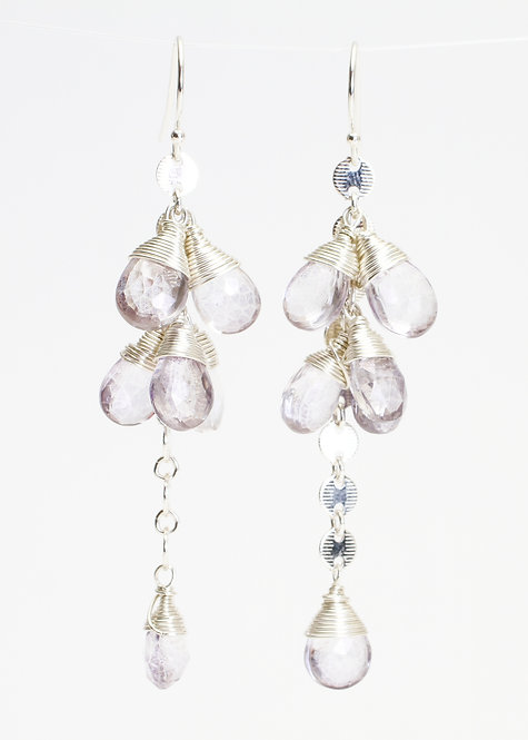 Sterling Silver Circle Chain Dangle Earrings w/ Iolite