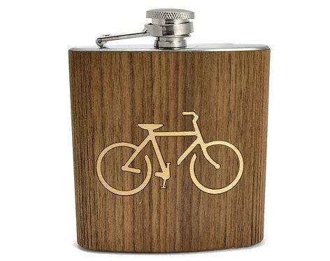 Bike Wooden Hip Flask