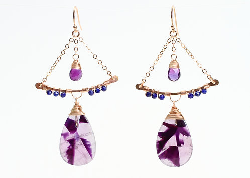 Rose Gold Filled Swing Earrings with Amethyst & Lapis