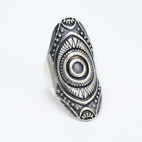 Sterling Silver Carved Shield Ring