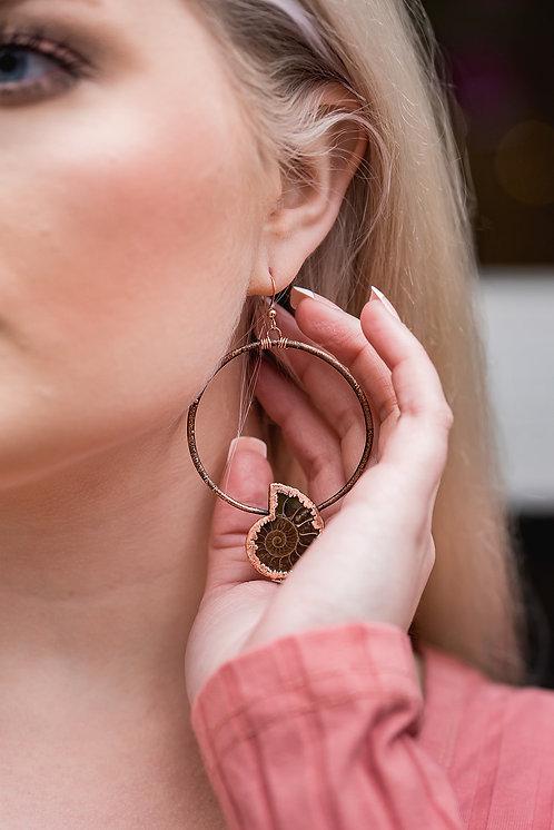 Ammonite Hoop Earrings