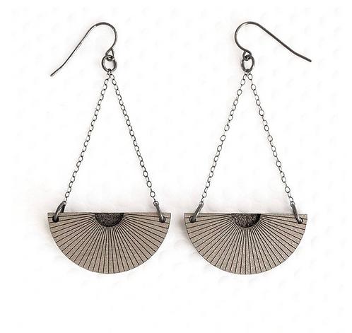 Egypt Earrings - Graphite & Silver