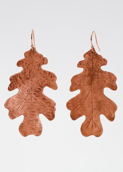 Copper Medium Oak Leaf Earrings