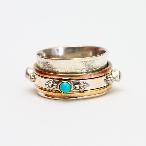 Turquoise and Pearl Sterling Silver Spinner Ring