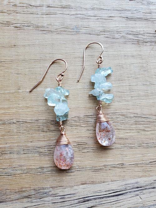 Raw Aquamarine Clusters & Sunstone Earrings