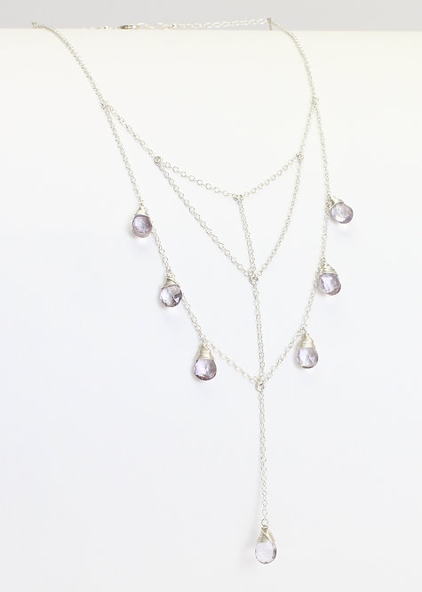 Sterling Silver Tiered Choker Lariat Necklace w/ Iolite