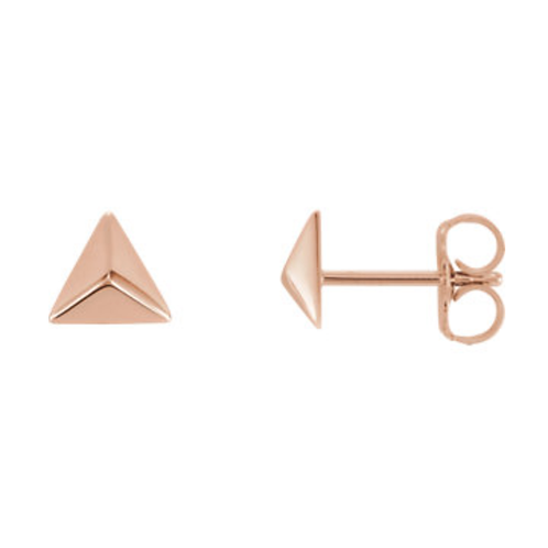 14K Gold Pyramid Post Earrings