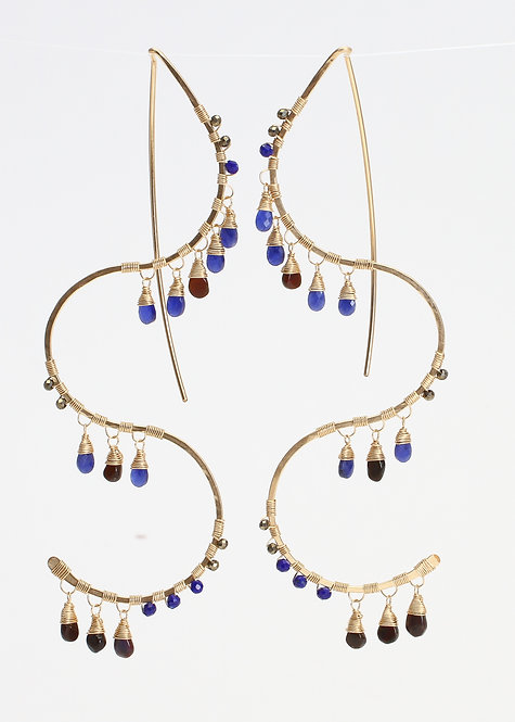 Long Squiggle Threaders w/ Sapphire, Black Opal, Lapis & Pyrite