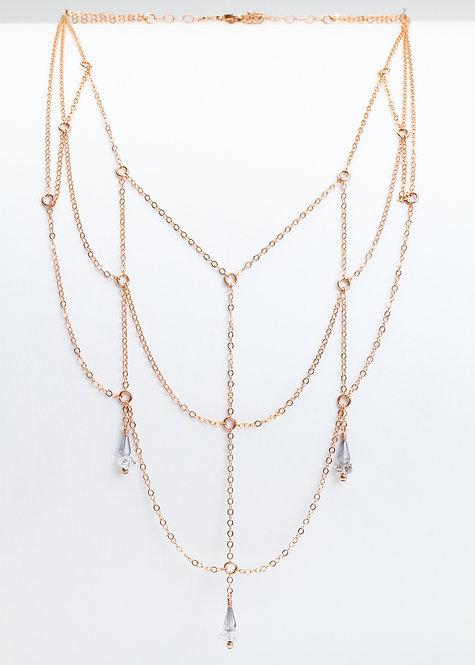 3 Tier Layered Necklace w/ Blue Quartz & Herkimer Diamonds