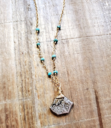 Turquoise & Ancient Indian Mauryan Empire Coin Necklace