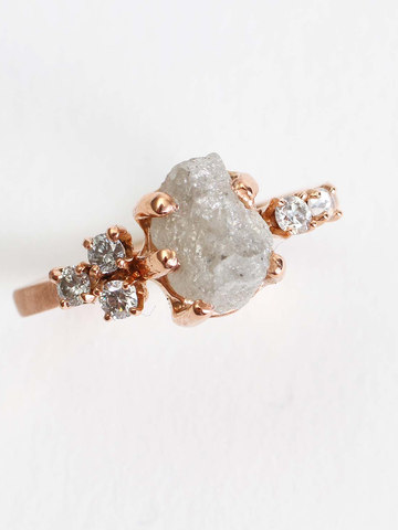 Raw & Faceted Diamond Engagement Ring