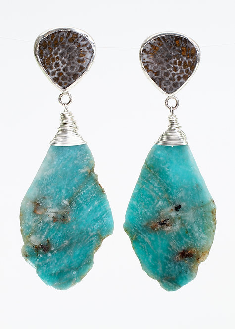 Fossilized Coral & Large Zambia Amazonite Slice Earringss