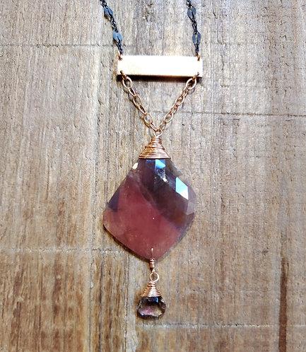 Purple & Pink Sapphire Bar Necklace