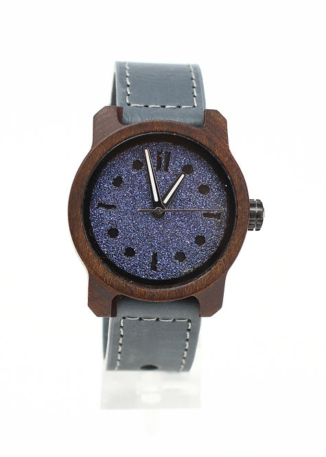 Marco Wood Mistura Watch - Blue Dot Stripe Face