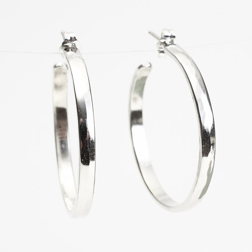 Small Wide Sterling Silver Hammered Hoops