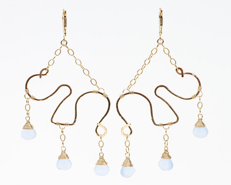 Chandelier Squiggle Earrings with Blue Chalcedony