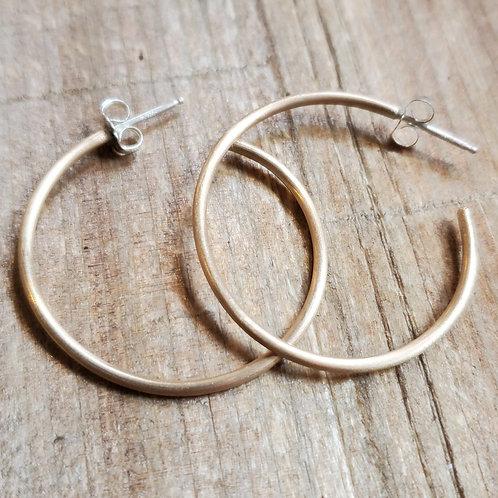 14K Yellow GF Satin Hoop Earrings