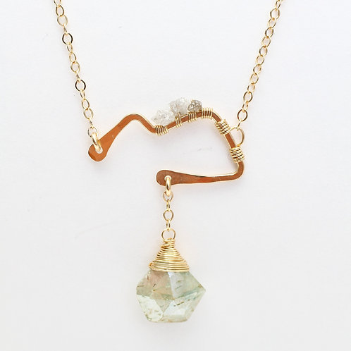 Open Mountain Pendant with White Sapphires & Raw Champagne Diamond Necklace