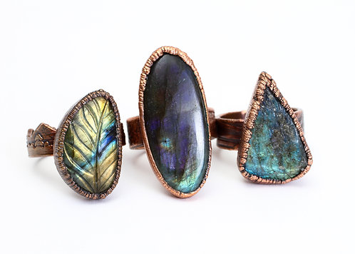 Copper Electroformed Labradorite Ring
