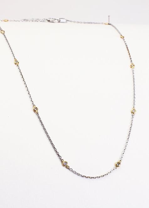 14K White & Yellow Gold Bezel Set Diamond Necklace