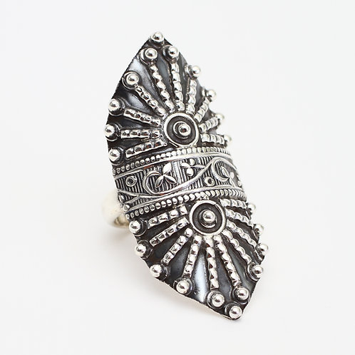 Sterling Silver Studded Shield Ring