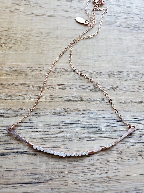 Champagne and Grey Raw & Rose Cut Diamond Curved Necklace