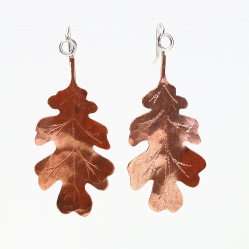 Small Hand Sawn Copper Oak Leaf Threader Earrings