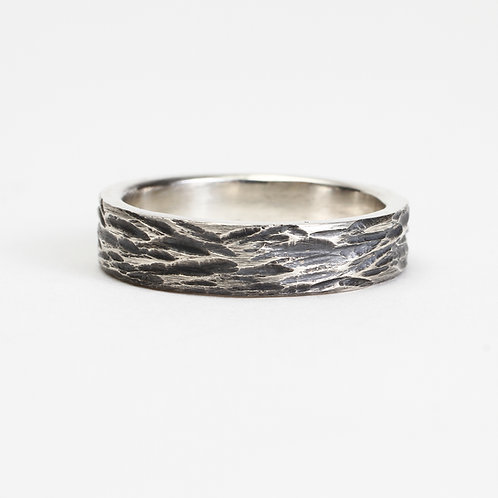 The Dogwood Ring - Sterling Silver w/ Oxidation & Carved Texture