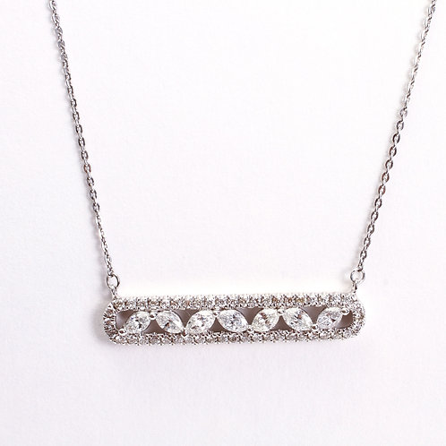 14K White Diamond Marquise Pave Halo Necklace