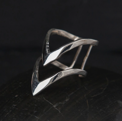 Sterling Silver Double V Ring