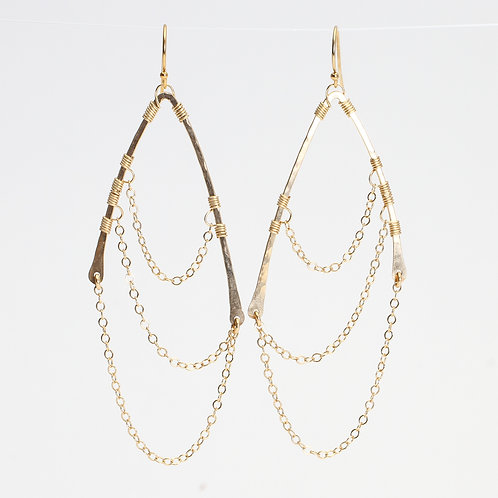 Yellow Gold Filled Chain Wing Earrings